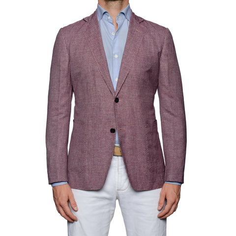 SARTORIA CASTANGIA Purple Plaid Wool-Silk-Linen Unlined Jacket 48 NEW US 38