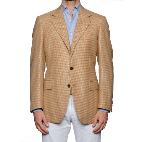 SARTORIA CASTANGIA Tan Houndstooth Silk-Wool Super 100's Jacket 52 NEW US 42