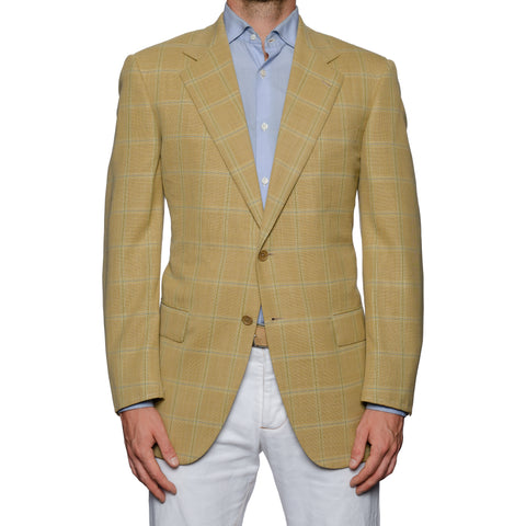 SARTORIA CASTANGIA Tan Plaid Wool Super 120's Jacket EU 52 NEW US 42
