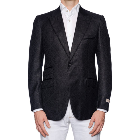 SARTORIA CASTANGIA Black Wool Peak Lapel Jacket with Silk Lining EU 50 NEW US 40