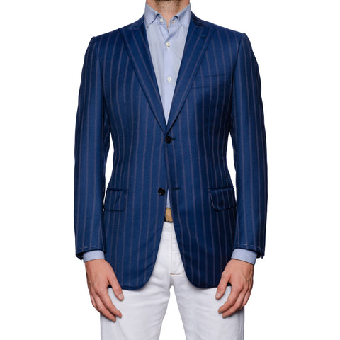 SARTORIA CASTANGIA Blue Australian Merino Wool Peak Lapel Jacket EU 48 NEW US 38