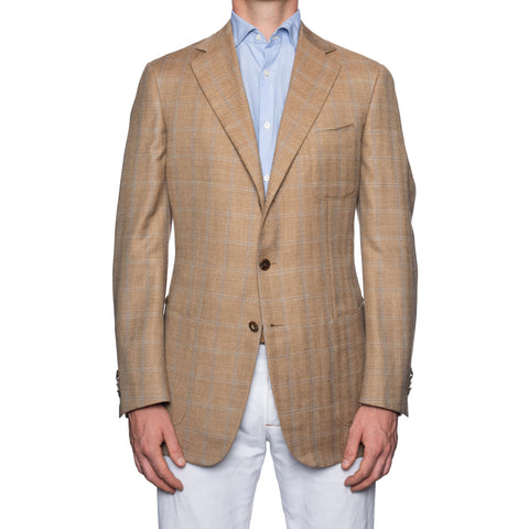 SARTORIA CASTANGIA Plaid Wool-Silk-Linen Jacket EU 52 NEW US 42