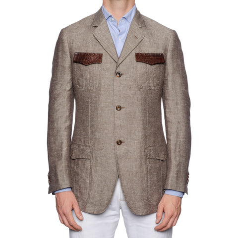 SARTORIA CASTANGIA Linen-Silk Safari Jacket Silk Lining Croco Trim 50 NEW 40