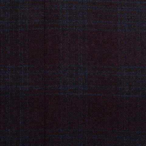 SARTORIA CASTANGIA Burgundy Plaid Wool Peak Lapel Jacket w Silk Lining 50 NEW 40