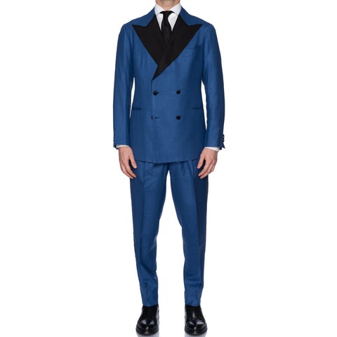 Sartoria CHIAIA Bespoke Handmade Blue Wool Super 150's DB Tuxedo Suit 52 NEW 42