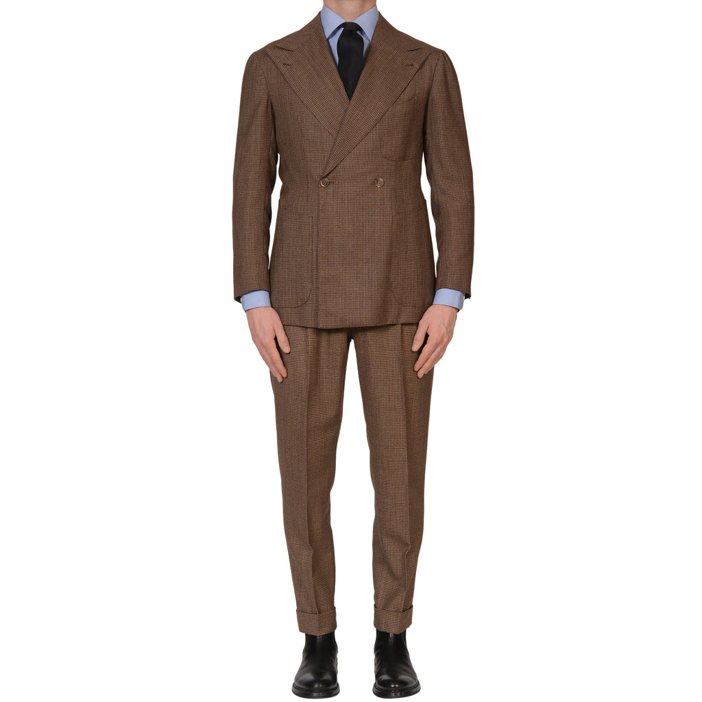 cb756086e486 Sartoria CHIAIA Bespoke Handmade Brown Plaid Wool Double Breasted Suit 48  NEW 38