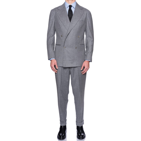 Sartoria CHIAIA Bespoke Handmade Gray Striped Loro Piana Cashmere Suit 54 NEW 44