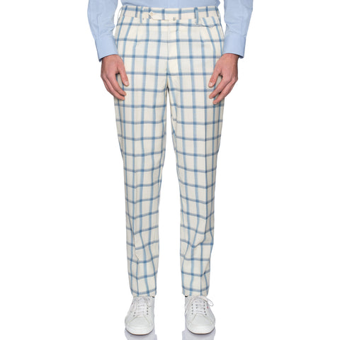 Sartoria CHIAIA Bespoke Off-White Plaid Scabal Wool-Silk Dress Pants 52 NEW US 36
