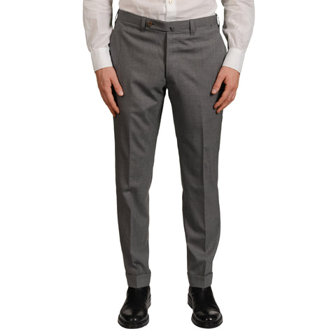 Sartoria CHIAIA Handmade Bespoke Gray Wool Flat Front Dress Pants EU 50 NEW US 34