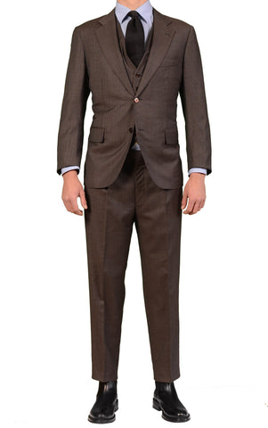 Sartoria CHIAIA Napoli Bespoke Hand Made Brown 3 Piece Suit 52 / 40-42 Short - SARTORIALE - 1