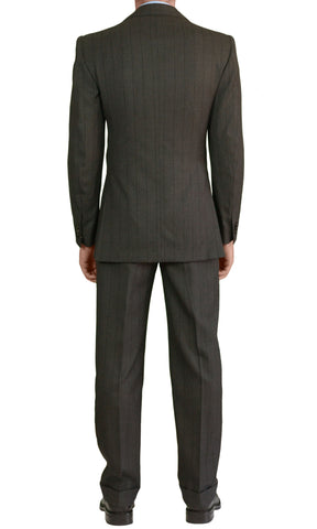 Sartoria CHIAIA Napoli Bespoke Hand Made Gray Striped DB Suit EU 48 NEW US 36 38 - SARTORIALE - 2