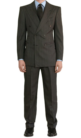 Sartoria CHIAIA Napoli Bespoke Hand Made Gray Striped DB Suit EU 48 NEW US 36 38 - SARTORIALE - 1