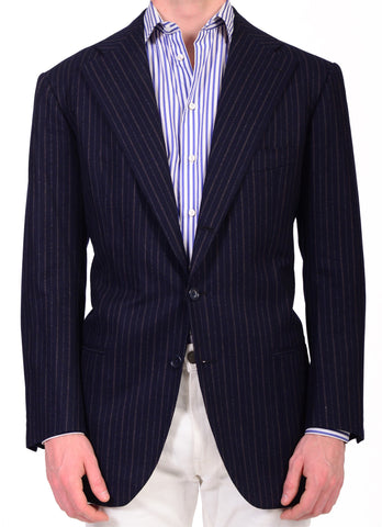 Sartoria CHIAIA HandMade Blue Striped Wool-Cashmere Flannel Jacket 42 NEW 52 - SARTORIALE - 1