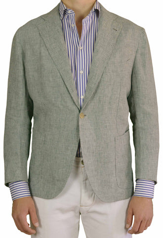 Sartoria CHIAIA Napoli Hand Made Shepard's Check Linen Jacket 54 NEW 42 44 Short