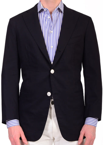 Sartoria CHIAIA Napoli Hand Made Solid Navy Blue Wool Jacket EU 54 NEW US 44 - SARTORIALE - 1