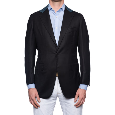 Sartoria CHIAIA Napoli Handmade Black Wool 1 Button Blazer Jacket EU 50 NEW US 40