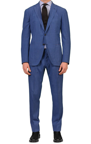 Sartoria PARTENOPEA Hand Made & Washed Blue Summer Suit EU 50 NEW US 38 40 Slim