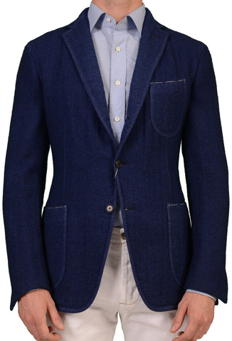 Sartoria PARTENOPEA Hand Made Solid Blue Flannel Wool Unconstructed Jacket NEW - SARTORIALE - 1