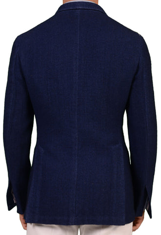 Sartoria PARTENOPEA Hand Made Solid Blue Flannel Wool Unconstructed Jacket NEW - SARTORIALE - 2