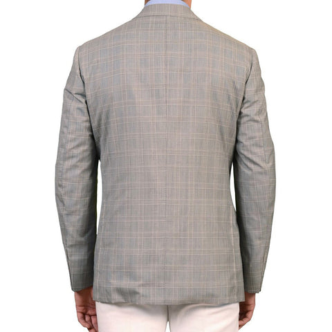 Sartoria PARTENOPEA Hand Made Gray Glen Plaid Wool-Silk Jacket EU 54 NEW US 44