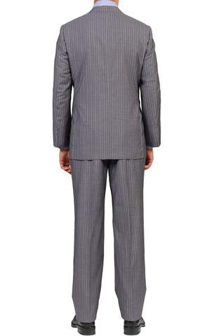 Sartoria PARTENOPEA Gray Striped Super 120's Wool-Silk Suit EU 54 NEW US 42 44