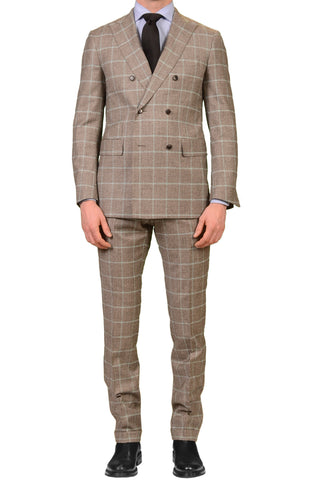Sartoria PARTENOPEA Handmade Gray Windowpane Wool Cashmere Flannel DB Suit NEW
