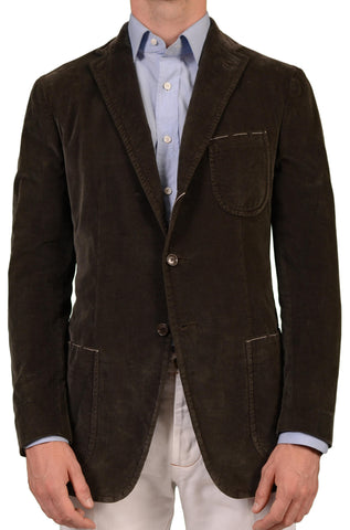 Sartoria PARTENOPEA Hand Made Solid Green Cotton Velvet Stretch Jacket 50 NEW 40 - SARTORIALE - 1