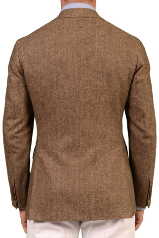 Sartoria PARTENOPEA Hand Made Tan Herringbone Wool Cashmere Flannel Jacket NEW - SARTORIALE - 2