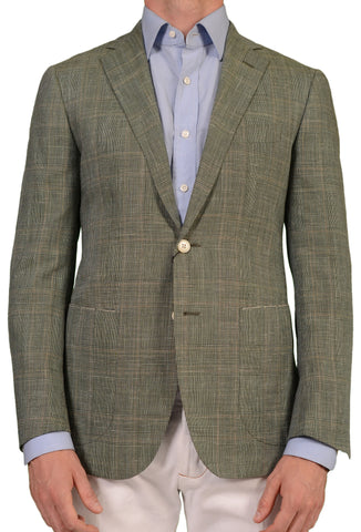 Sartoria PARTENOPEA Hand Made Green Prince Of Wales Wool-Silk-Linen Jacket NEW - SARTORIALE - 1