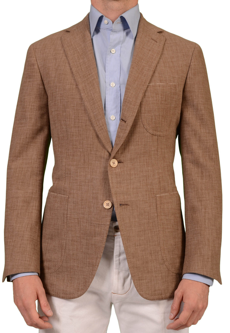 Sartoria PARTENOPEA Hand Made Solid Brown Wool Flannel Blazer Jacket NEW - SARTORIALE - 1