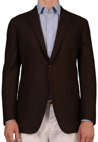 Sartoria PARTENOPEA Hand Made Solid Dark Brown Wool Blazer Jacket NEW - SARTORIALE - 1
