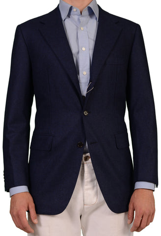 Sartoria PARTENOPEA Hand Made Solid Navy Blue Wool Flannel Blazer Jacket NEW - SARTORIALE - 1