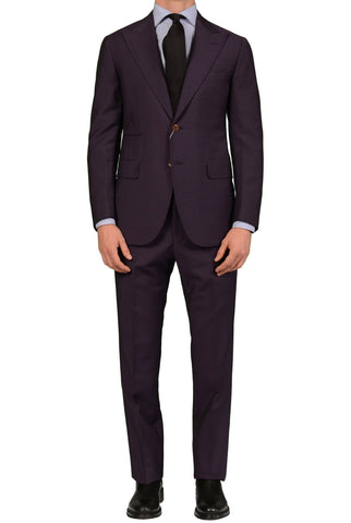 Sartoria PARTENOPEA Hand Made Solild Purple Wool-Mohair Peak Lapel Suit NEW - SARTORIALE - 1