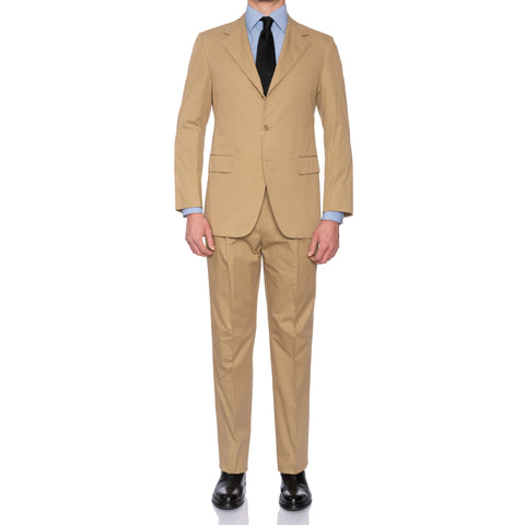 Sartoria PARTENOPEA Hand Made Tan Cotton Suit EU 52 NEW US 42