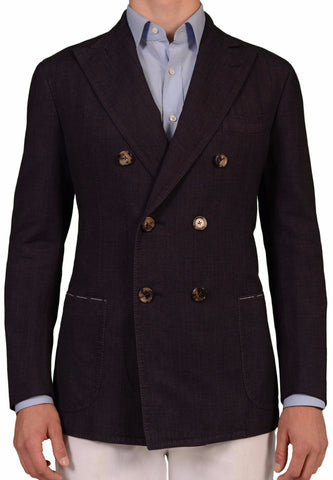 Sartoria PARTENOPEA Handmade Purple Herringbone Cotton DB Jacket EU 52 NEW US 42 - SARTORIALE - 1
