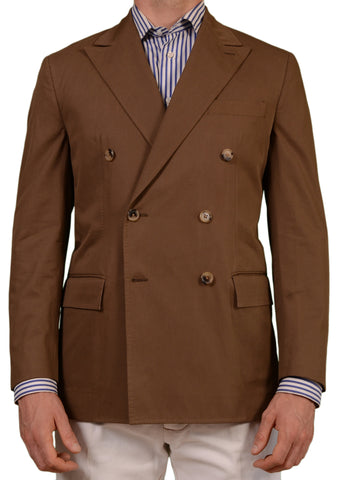Sartoria PARTENOPEA Hande Made Solid Brown Cotton DB Blazer Jacket 50 NEW 40 - SARTORIALE - 1