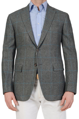 Sartoria PARTENOPEA Gray-Blue Prince of Wales Wool-Silk Jacket EU 52 NEW US 42