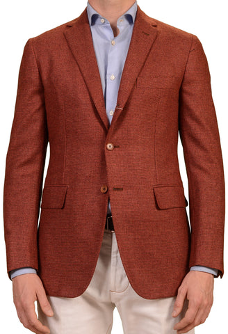 Sartoria PARTENOPEA Handmade Brick Red Plaid Wool-Cashmere Jacket 50 NEW US 40