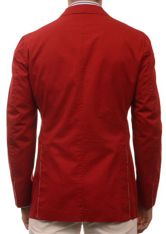 Sartoria PARTENOPEA Hand Made Solid Red Cotton Blazer Jacket Sports Coat NEW - SARTORIALE - 2
