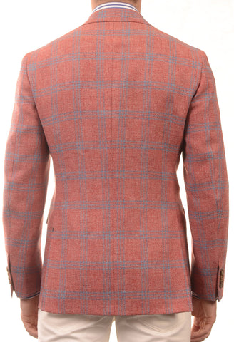 Sartoria PARTENOPEA Hand Made Red Windowpane Wool Jacket Sports Coat - SARTORIALE - 2