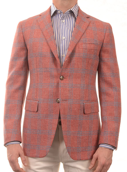 Sartoria PARTENOPEA Hand Made Red Windowpane Wool Jacket Sports Coat - SARTORIALE - 1