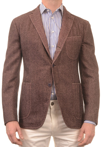 Sartoria PARTENOPEA Hand Made Mallow Herringbone Wool-Cotton Jacket 50 NEW 40 - SARTORIALE - 1