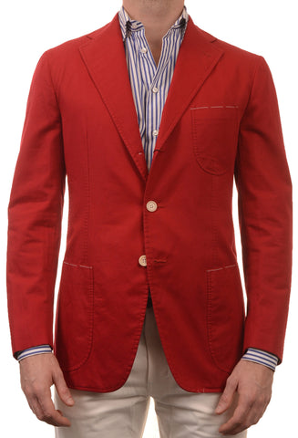 Sartoria PARTENOPEA Hand Made Solid Red Cotton Blazer Jacket Sports Coat NEW - SARTORIALE - 1
