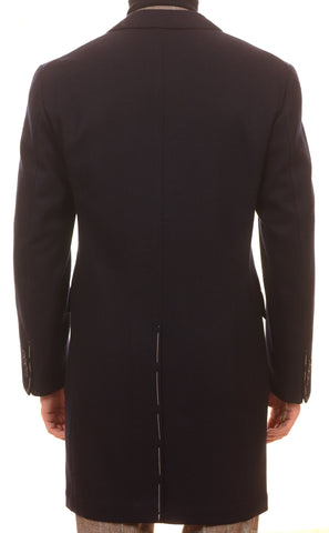 Sartoria PARTENOPEA Hand Made Navy Blue Herringbone Wool-Cashmere Coat 50 NEW 40 - SARTORIALE - 3