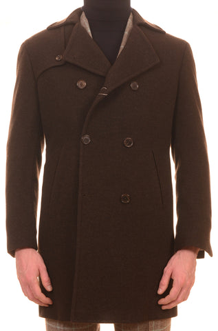 Sartoria PARTENOPEA Hand Made Solid Dark Brown Wool-Cashmere DB Coat - SARTORIALE - 1