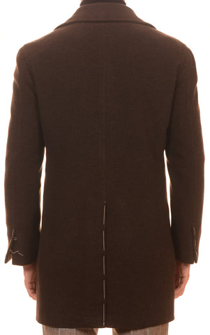 Sartoria PARTENOPEA Hand Made Solid Dark Brown Wool-Cashmere DB Coat - SARTORIALE - 3