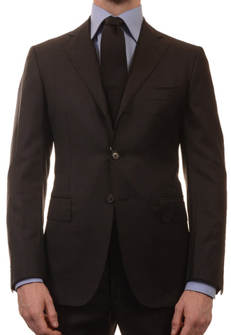 Sartoria PARTENOPEA Hand Made Solid Black Super 140's Wool Elegant Suit NEW - SARTORIALE - 1