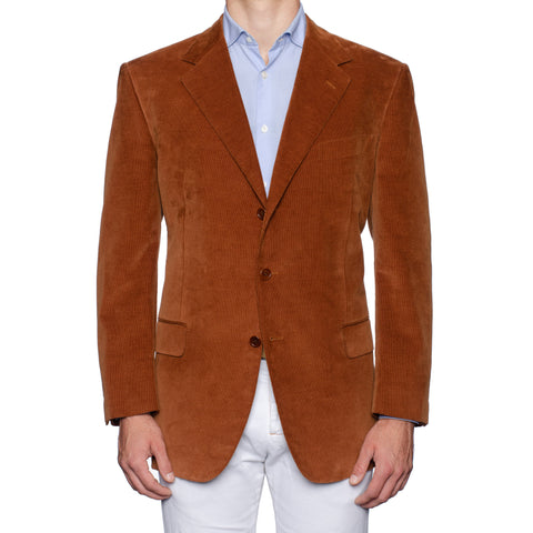 Sartoria CASTANGIA Handmade Rust Cotton Velvet Jacket EU 56 NEW US 46