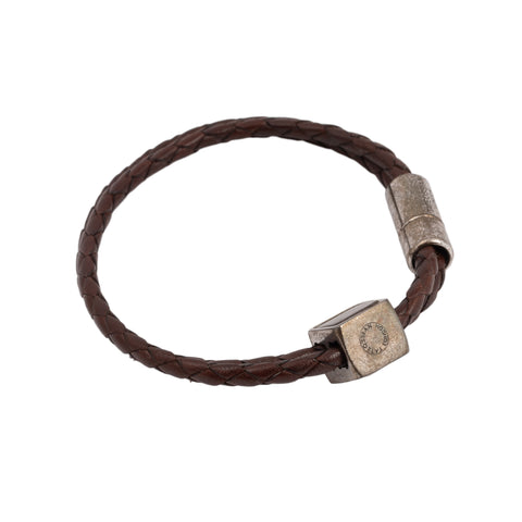TATEOSSIAN Brown Double Woven Leather Bracelet with Dice Large