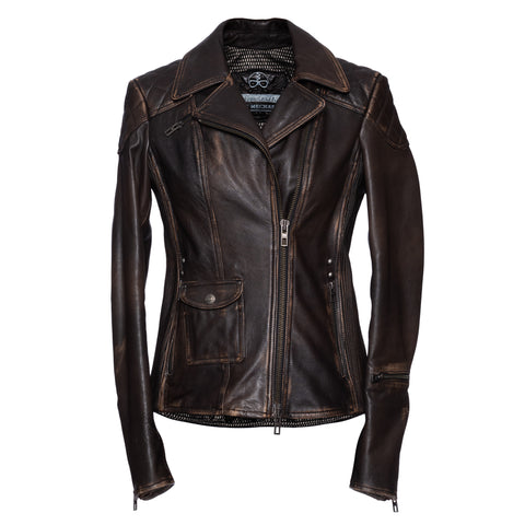 THEDI LEATHERS Brown Leather Motorcycle Biker Women's Jacket Size S